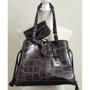 DOONEY & BOURKE - Purple Croc Embossed Handbag Set
